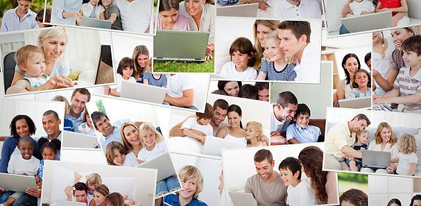 Patchwork de familles devant leur ordinateur
