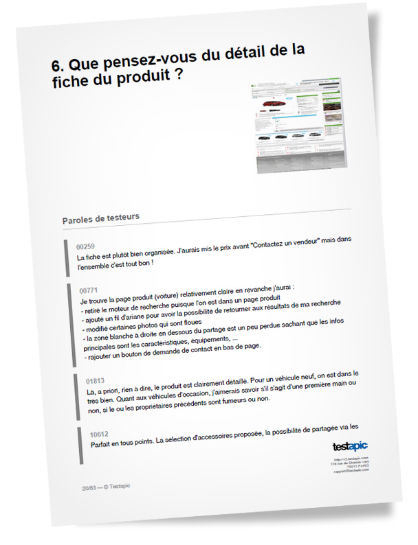 Page d'un audit réalisé par Testapic