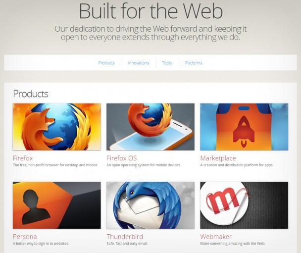 Capture d'écran de produits proposés par Mozilla