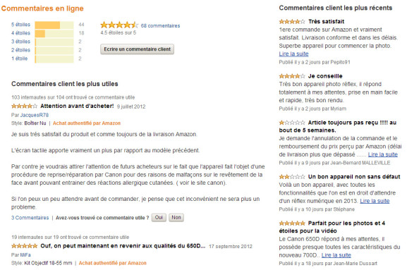 Capture d'écran du site Amazon