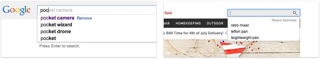 À gauche, Google nous montre les requêtes déjà recherchées, ce qui nous permet de privilégier les autres pour une nouvelle recherche. À gauche, Williams Sonoma indique l'historique des recherches avant que l'utilisateur ne commence à taper sa requête. L'option «supprimer» de Google est toutefois bien utile pour éviter de conserver dans son historique les cadeaux que l'on souhaite offrir aux autres utilisateur de l'ordinateur.