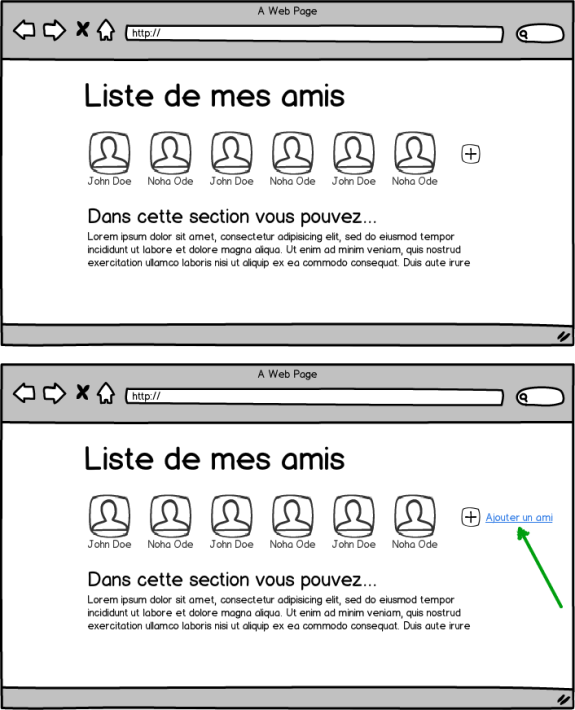 Deux wireframe d'une interface