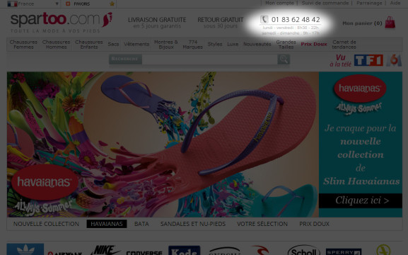 Capture d'écran du site de Spartoo