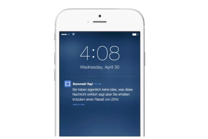 Envoyer une notification push en Allemand pour une personne qui ne pratique pas la langue est du mauvais UX. Image credit: appboy