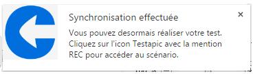 Capture de la notification Synchronisation effectuée