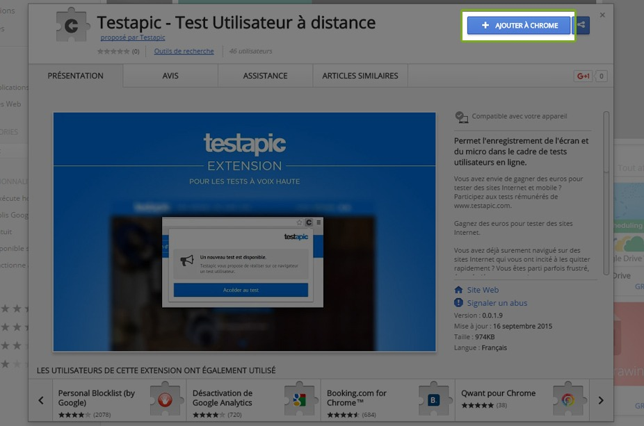 Capture d'écran de la page Testapic Extension