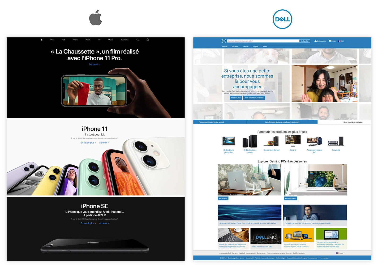 Page d'accueil Apple & Dell