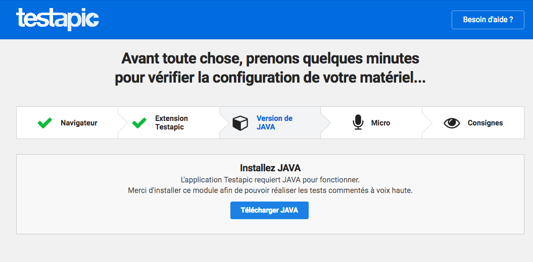 Capture de l'installation de Java