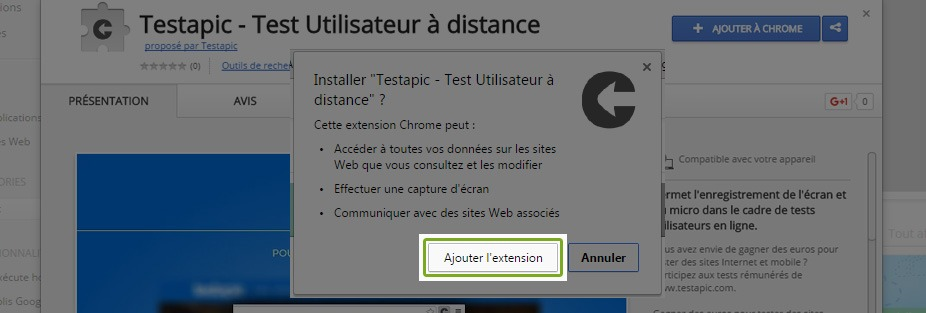 Testapic - confirmation ajout